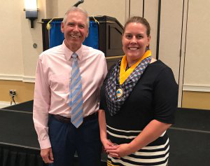 President of VAPA Amanda Collins, PA-C, (left) is pictured with award winner Philip O'Donnell, MD, FACP (right)
